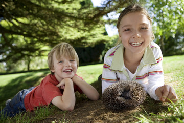 Girl (7-9) and boy (4-6) lying on grass with hedgehog, smiling, portrait