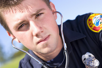 Paramedic with stethoscope, portrait, close-up