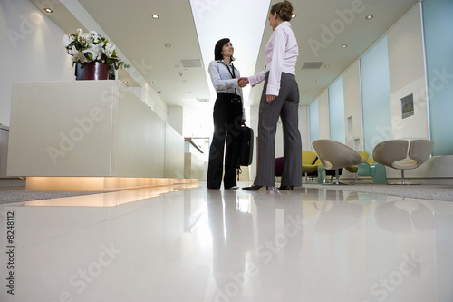 Two businesswomen shaking hands in lobby, smiling, side view, surface level