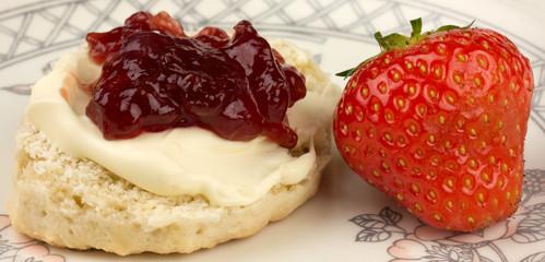 Devonshire cream tea scone and strawberry