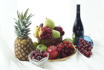 Scrumptious layout of fruit and wine
