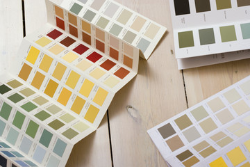 Paint colour swatches on floor, close-up (still life)