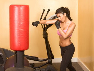 Female kickboxing exercise