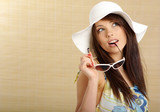 summer girl in white cap