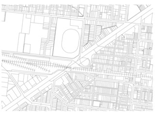city map autoCAD drawing black and white