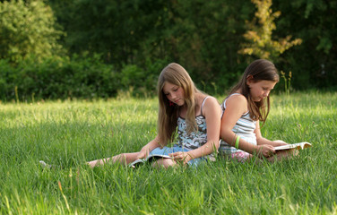 Girls reading a book