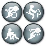 Sports button (Triathlon/Equestrian/Wrestling/Pentathlon) poster