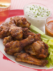 Spicy Buffalo Wings with Blue Cheese dip and chilli sauce