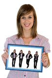 giovane businesswoman con cornice blu poster