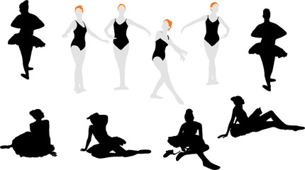 Ten silhouettes of ballet dancers