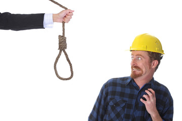 confused construction worker looking at gallows