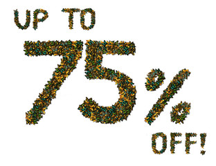 Butterfly 75% off sale sign