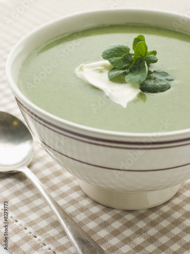Bowl of Watercress Soup with Cr me Fraiche