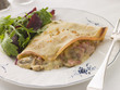 Savoury Pancake filled with Ham Cheese and Mushrooms