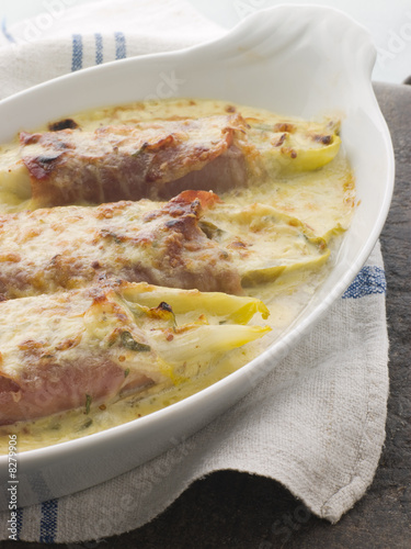 Dish of Chicory Gratin with Bacon