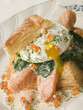 Seared Salmon Spinach and a Poached Egg in a Vol au Vent Case wi
