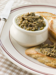 Green Olive Tapenade with toasted baguette