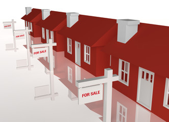 3D group of houses for sale