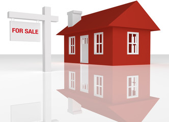 3D rendered Red house with realator sign