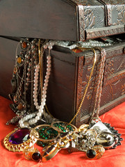 Wooden treasure chest with valuables