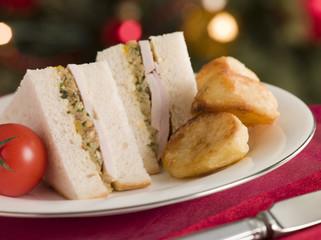 Roast Turkey and Stuffing  Sandwich with potatoes