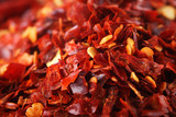 Hot Red Chilli Chillies pepper crushed, Background Shallow DOF poster