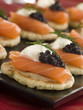 Smoked Salmon Canapes with Sour Cream and Caviar