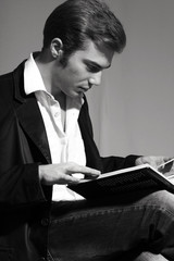Men reading book