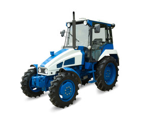 new blue bulldozer. Isolated with clipping path