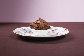 Chocolate cupcake on plate