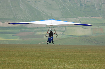 Deltaplano in atterraggio
