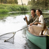 Young couple fishing