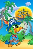 Pirate parrot with boat-
