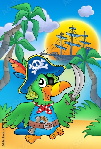 Deurstickers Piraten Pirate parrot with boat