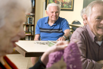 Three residents in a retirement home