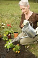 A senior woman gardening