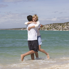 A mature couple on a beach