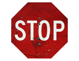Stop Sign with Bullets on White