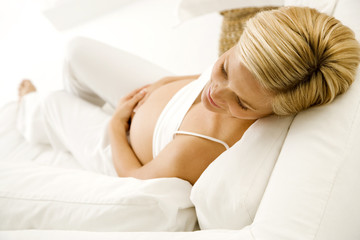 A pregnant woman relaxing