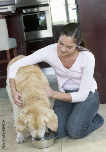 A young girl feeding her dog
