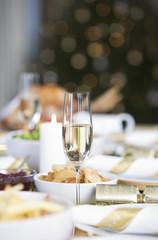 A table set for Christmas dinner