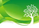 Fototapety Green Tree background, Vector illustration layered file.