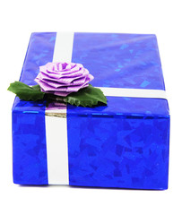 Blue gift isolated on white
