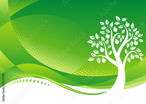 Green Wall Paper on Photo  Green Tree Background  Vector Illustration Layered File     Keo