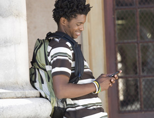 A student using a mobile phone