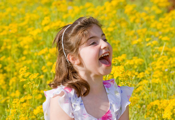 Girl Yelling in a Flower Field