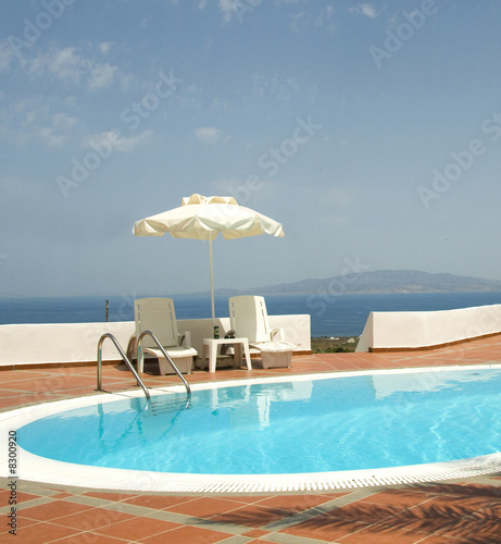 swimming pool greek islands santorini