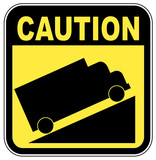yellow caution steep grade up sign  poster