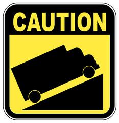yellow caution steep grade up sign