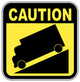 yellow caution steep grade down sign poster